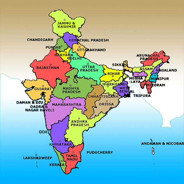 Map of India showing the states in different colours